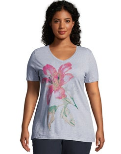 JMS Tropical Flower Short Sleeve Graphic Tee