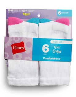 Hanes Girls' Crew  Socks 6-Pack