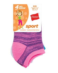 Hanes Girls' Sport No Show Socks 4-Pack