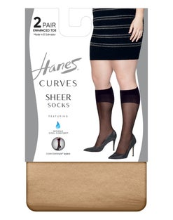 Hanes Curves Sheer Socks 2-Pack