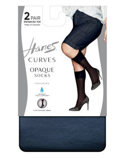 Hanes Curves Opaque Socks 2-Pack
