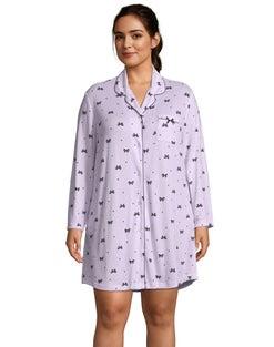 Brushed Hacci Notch Collar Plus Sleepshirt