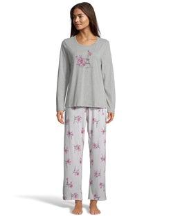 Hanes Women's Cotton Blend All-Over Print Notch Collar Sleep Set