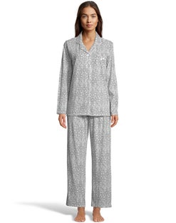 Notch Collar All-Over Print Sleep Set