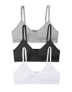 Hanes Girls' ComfortFlex Fit® Seamless Bralette 3-Pack (Includes 1 free bonus bralette)