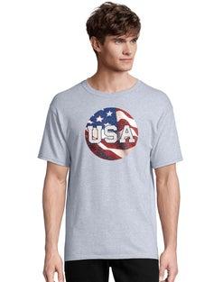 Hanes Men's USA Circular Flag Short Sleeve Graphic Tee