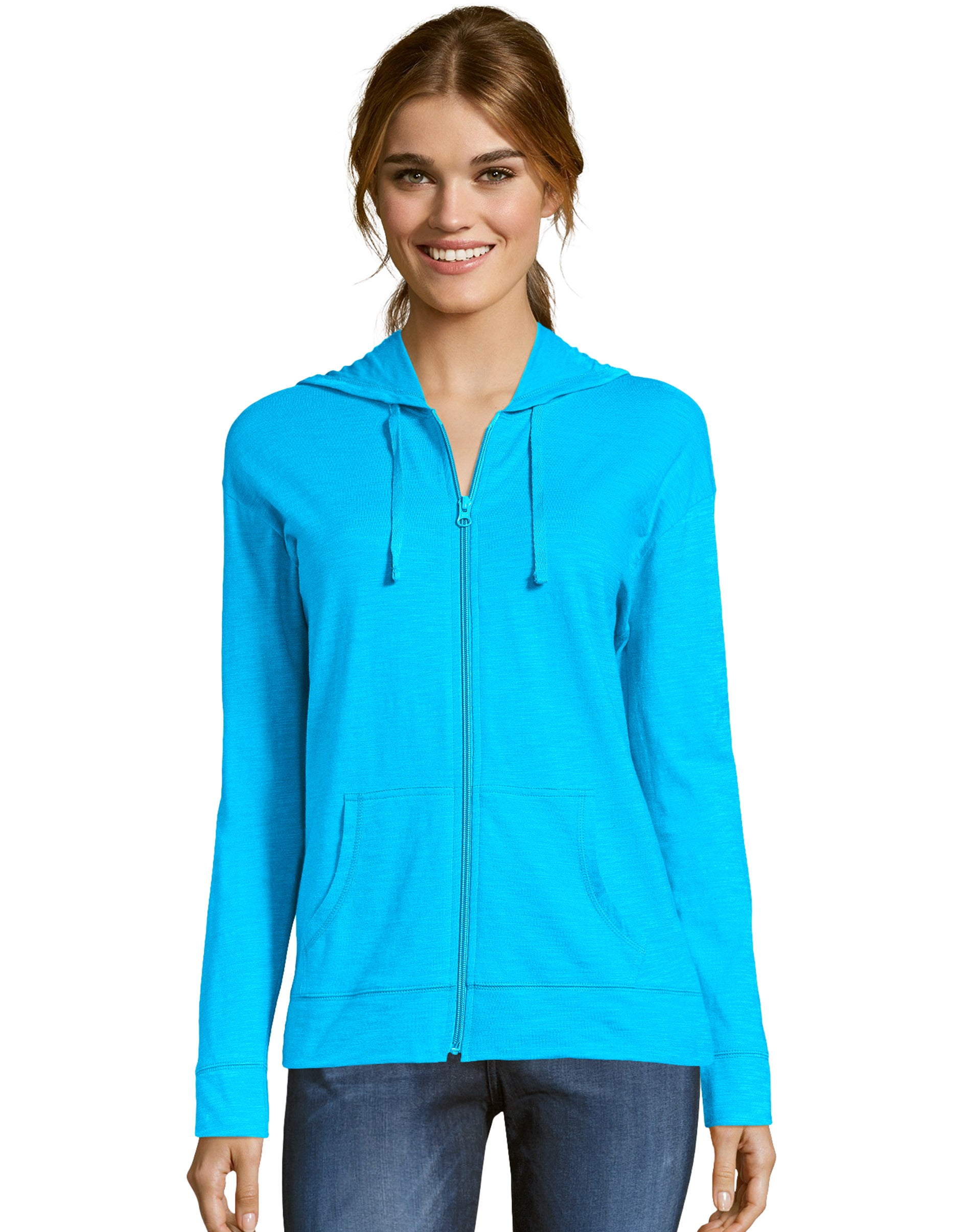 Hanes Women/'s Hoodie Lightweight Pockets Slub Jersey Full Zip Sweatshirt Casual