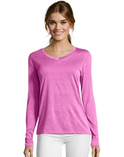 Hanes Sport™ Cool DRI® Women's Performance Long-Sleeve V-Neck T-Shirt