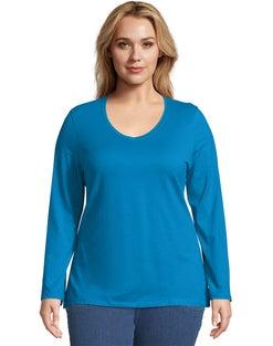 JMS Long-Sleeve V-Neck 100% Cotton Women's Tee
