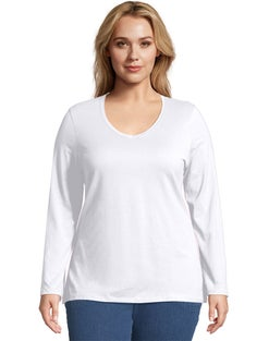 JMS Long-Sleeve V-Neck 100% Cotton Women's Tee