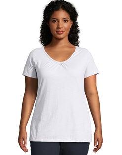 JMS Slub-Cotton Short-Sleeve Shirred V-Neck Women's Tee
