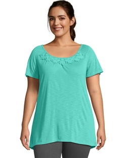 JMS Short-Sleeve Slub-Jersey Women's Tunic with Crochet Trim