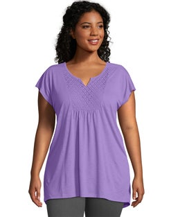 JMS Short-Sleeve Slub-Jersey Women's Tunic Crochet Bib Yoke