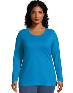 JMS Long-Sleeve Scoop-Neck 100% Cotton Women's Tee