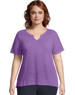 JMS Short Sleeve Lace Peasant Top