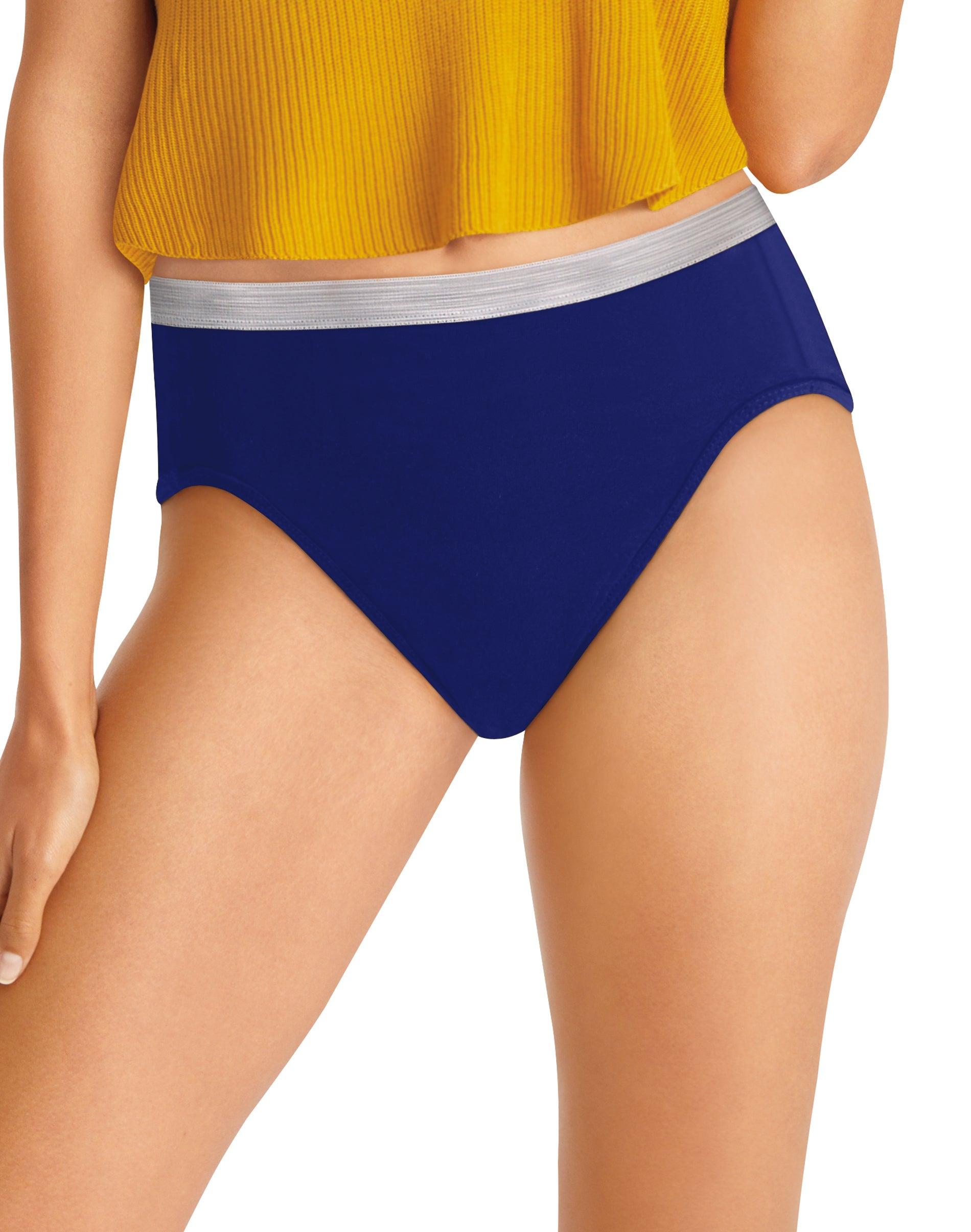 Hanes Womens Hi-Cuts 100/% Cotton Panties 10 Pack Size 8 Various Colors Tagless