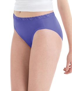 Hanes Women's Nylon Hi-Cut Panties 6-Pack