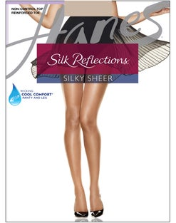 Hanes Silk Reflections Non-Control Top, Reinforced Toe Pantyhose 4-Pack