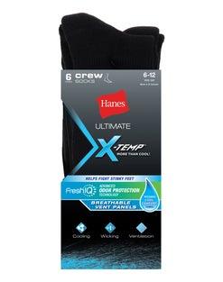 Hanes Ultimate® Men's X-Temp® FreshIQ™ Black Crew Socks 6-Pack