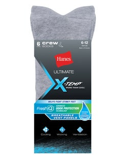 Hanes Ultimate® Men's X-Temp® FreshIQ™ Grey Crew Socks 6-Pack