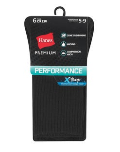 Hanes Women's Premium Performance Cushioned Crew Socks, 6-Pack